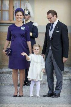 Crown Princess Victoria, Prince Daniel & Princess Estelle At Prince Nicolas Christening On October 11, 2011.
