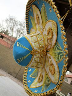 Vintage Aqua Blue Yellow Gold Sombrero Mexican by retrosideshow