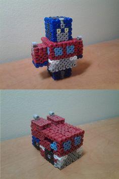 Perler Cubee Optimus Prime by seanacid on DeviantArt