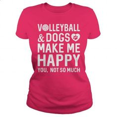 Volleyball And Dogs Make Me Happy - #funny tshirts #hoodies womens. MORE INFO => https://www.sunfrog.com/Sports/Volleyball-And-Dogs-Make-Me-Happy-Hot-Pink-Ladies.html?60505