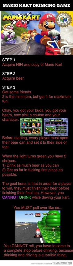 Mario Kart drinking game....hahaha totally doing this