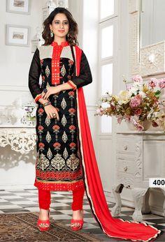Black Heavy Chanderi Salwar #Kameez #Dress #Material #nikvik  #usa #designer #australia #canada #freeshipping #churidar #suits