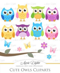 Cute Owl Clipart. Scrapbooking printables Baby by AvenieDigital #scrapbooking #projectlife #digitalpaper #clipart #owl #cute #scrapbook