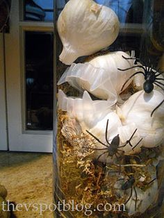 The V Spot: Using garlic in your Halloween decor - keep your pantry stocked AND keep vampires away.