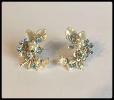 Clip on Blue Rhinestone Earrings Faux Pearls Gold by bettysworld4u