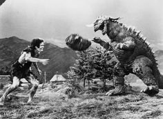 Toho's Frankenstein monster and Baragon playing catch.