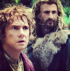 Bilbo and Fili // We have determined that that is a purple jacket! :D In which case, there's more pictures of him to be found, perhaps!