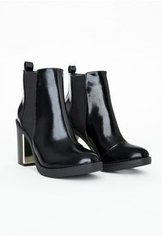 Beatrice Patent Block Heel Chelsea Boots - Shoes - Missguided