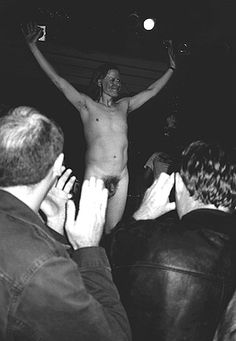 Michael Gira says farewell after the SWANS last show  in London, England, March, 15 1997.  photo by: Twomberly Canale