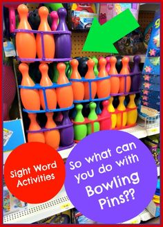 Fun little hands-on sight word activity.  Free printable for creating your own sight word bowling pins.