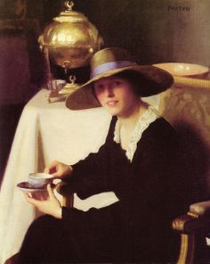 Samovar, 1926, by William McGregor Paxton. Young woman with a friendly face, enjoying a cup of tea, Russian style.