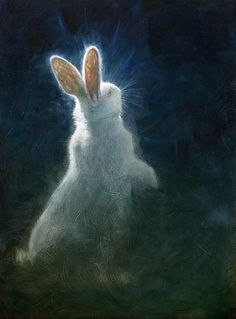 white rabbit painting glowing moonlight night artwork - please comment if you know the artist's name. Lapin Art, Year Of The Rabbit, White Rabbits, Rabbit Art, Rabbit Head, Bunny Art, Wow Art, Animal Paintings, Pet Birds
