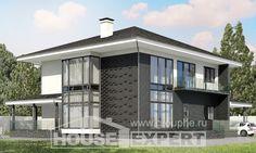 245-002-П Проект двухэтажного дома и гаражом, современный домик из пеноблока