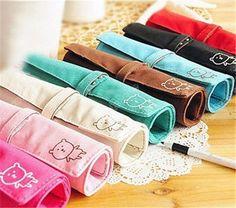 Stationery Bear Wrap Roll-up Canvas Pencil Pen Case Purse Makeup Bag Pouch 0838