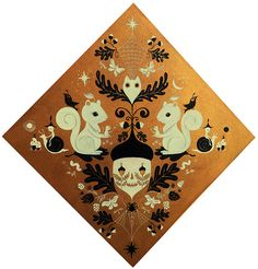 """This piece has beautiful symmetrical composition with autumn forest iconography and motifs. A fantastic interpretation of the forest, making an elegant and whimsy piece for design and illustration lovers. *40 x 40"""" *Acrylic on wood *Colors: gold, black and ivory  *By Fio Zenjim"""