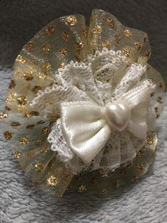 These exquisite bows have gold Iridescent polka dot chiffon with white lace, then a satin bow with a heart center. These truly one of a kind bows are approximately Handmade Hair Bows, Handmade Gifts, Gold Hair Bow, Heavenly, Iridescent, Hair Beauty, Chiffon, Hair Accessories, Brooch