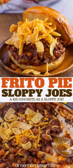 Frito Pie Sloppy Joes made with enchilada sauce, ranch beans, and shredded cheddar on a brioche bun ready in under 30 minutes will remind y. Casserole Recipes, Meat Recipes, Mexican Food Recipes, Crockpot Recipes, Vegetarian Recipes, Cooking Recipes, Potato Recipes, Pasta Recipes, Chicken Recipes