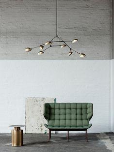 Drop Chandelier – Brass by 101 Copenhagen cm; W 120 cm; House Lamp, Brass Chandelier, Danish Design, Lamp Design, Lampshades, Stairways, Timeless Design, Ceiling Lights, Interior Design