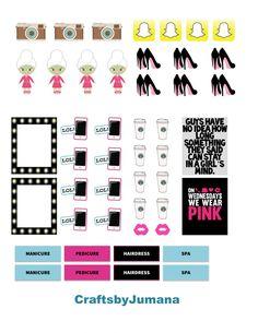 PRINTABLE Girls Stuff Sticker set by CraftsbyJumana on Etsy