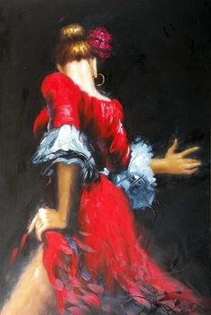 Abstract Red Dancer Painting
