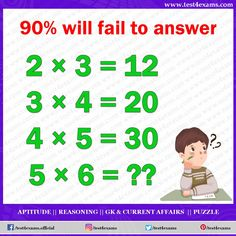 Will Fail to Answer Get more brain teaser puzzle, number puzzle, alphabet puzzle and picture puzzle on Test 4 Exams. Hard Brain Teasers, Brain Teasers Riddles, Brain Teasers With Answers, Brain Teasers For Kids, Brain Teaser Puzzles, Math Riddles With Answers, Puzzles And Answers, Number Puzzles, Maths Puzzles