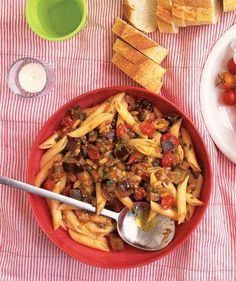 Mix penne with tender chunks of eggplant and grape tomatoes. | A gallery of recipes that are simply delizioso.