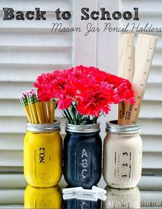 You can also DIY a dollar store mason jar into these pretty awesome pencil holders. | 26 Dollar-Store Finds That Will Make Back To School Easy