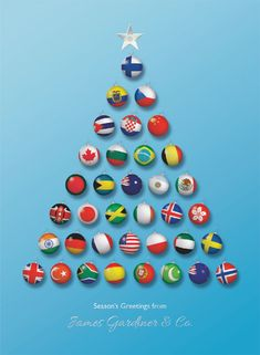 World Bauble Tree Christmas Cards Manufacturing Personalised Charity Christmas cards since 1906 - UK Supplier - Order now. Different Country Flags, Corporate Christmas Cards, Personalised Christmas Cards, Greeting Cards, Christmas Tree, Bauble, Emboss, Countries, Prints