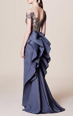 Illusion Bodice Column Gown by MARCHESA for Preorder on Moda Operandi