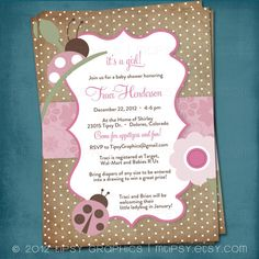 Ladybug Pink & Brown Party or Shower Invite for by Tipsy by MTipsy, $16.00