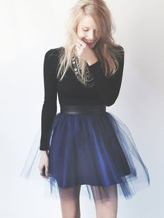 Black Top + Blue Tutu Skirt