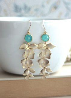 Mint Opal Green Glass Drops with Gold Orchid Earrings. Mint Garden Wedding | By Marolsha