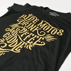 Ride Motos Drink Coffee and Cuddle womens motorcycle inspired tee shirt design from Scotch and Iron.