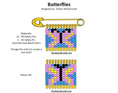 Safety Pin Crafts, Safety Pin Jewelry, Safety Pins, Jewelry Patterns, Jewelry Ideas, Beading, Beadwork, Alpha Patterns, Butterfly Design