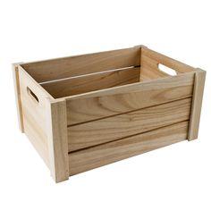 Caja de madera natural de 3 listones grande   Tienda online casa viva