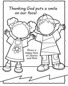 God puts a smile on our face coloring page Bible Story Crafts, Bible School Crafts, Preschool Bible, Bible Activities, Bible Stories, Sunday School Activities, Sunday School Lessons, Sunday School Crafts, Sunday School Coloring Pages