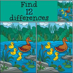 Stock vector of 'Children games: Find differences. Duck and ducklings on the lake. Find The Difference Pictures, Spot The Difference Kids, Make Way For Ducklings, Duck And Ducklings, Kitty Party Games, Cat Party, Hidden Words In Pictures, Hard Mazes, Funny Illusions