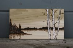 Hey, I found this really awesome Etsy listing at https://www.etsy.com/listing/224817424/lakeside-birch-trees-art-wood-burning