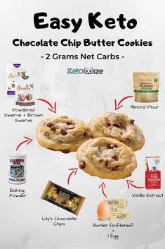Keto Cookies, Keto Chocolate Chip Cookies, Cookies Et Biscuits, Keto Cookie Dough, Easy Choc Chip Cookie Recipe, Low Carb Cookie, Low Calorie Cookies, Sugar Free Cookies, Vegan Chocolate