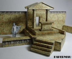 Use Your Imagination! - == -  While I work in the assembly of the Athenian Treasury, I realized that the pieces of this model can be used in many different configurations, as can be seen in the images of this post. I believe that this model will be very useful for Dioramas, RPG and Wargames. Once I finish assemble and put to download the Athenian Treasury, I will rearrange the templates to facilitate the work of those who want to create their own constructions.