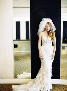 glamorous , tulle, veils, sparkly, strapless, sweetheart, wedding dresses, white, curly, down, hairstyles, one sided, romantic , Beverly Hills, California Gorgeous Wedding Dress, White Wedding Dresses, Dream Wedding, Brides And Bridesmaids, Bridesmaid Dresses, Wedding Veils, Hair Wedding, Wedding Wear, Bridal Hair