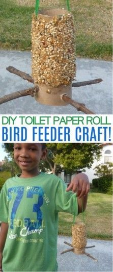 How To Make A Toilet Paper Roll Bird Feeder Craft - Honey + Lime This toilet paper roll bird feeder craft is a fun spring activity for kids! Reuse toilet paper rolls & watch the birds enjoy a bird feeder toilet paper roll Bird Feeders For Kids To Make, Birds For Kids, Make A Bird Feeder, Bird Feeder Craft, Homemade Bird Feeders, Summer Crafts For Kids, Spring Crafts, Diy For Kids, Kids Fun