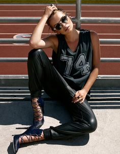 Track Pants with Graphic Muscle Tank Top and Lace Up Heels