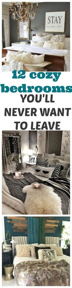 12 cozy bedroom home decor ideas for small bedrooms, your apartment, room decor and master bedrooms. Decorating with blankets, lights, faux fur, pillows, hammock chairs and more. #decor #decorating #fauxfur #interiors #bedrooms #cozy #pillows