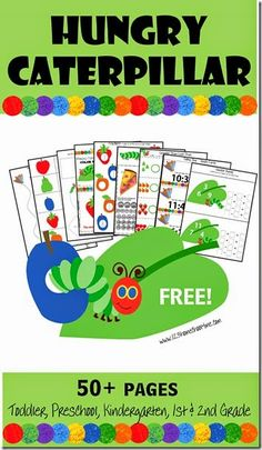 Hungry Caterpillar Worksheets for toddler preschool kindergarten 1st grade 2nd grade kids!  These are SO CUTE!! Practice writing, letters, numbers, colors, shapes, telling time, fractions, addition, and lots more!!