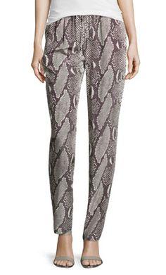 Diane von Furstenberg Silk Printed Pants- Taupe Co