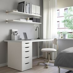 LINNMON / ALEX Table, light gray, white, Mix and match your choice of table top and legs. By buying them separately, you can create a combination with design and size that fits perfectly into your available space. Ikea Table, Ikea Desk, Ikea Linnmon Desk, Table Desk, Ikea Home Office, Home Office Design, At Home Office Ideas, Ikea Office Hack, Bedroom Desk