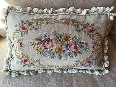 Aubusson-Style-Tapestry-Needlepoint-Pillow-100-Wool-Handstitched-18-x26-Floral