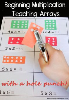 Multiplication Arrays with a Hole Punch.perfect for students just learning multiplication, or for remediation.Teaching Multiplication Arrays with a Hole Punch.perfect for students just learning multiplication, or for remediation. Math Strategies, Math Resources, Math Activities, Addition Strategies, Calendar Activities, Learning Multiplication, Teaching Math, Multiplication Strategies, Array Multiplication