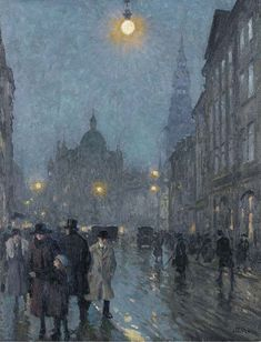 Evening, Copenhagen, Paul Fischer. Danish (1860 - 1934)